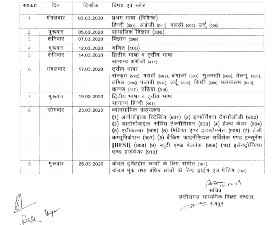 CG Board 10th Time Table 2020