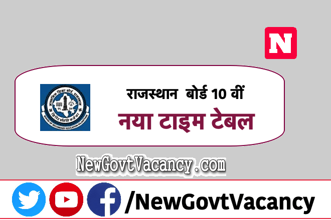 Rajasthan board 10th New Time Table 2020