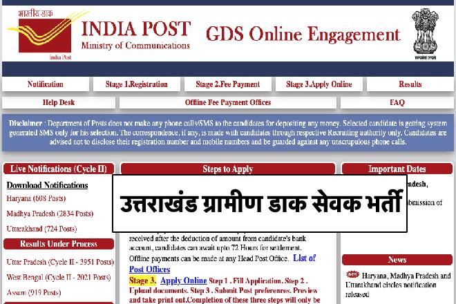 Uttarakhand GDS Recruitment 2020
